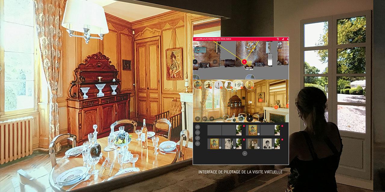 Interface de commande de la visite virtuelle 3D - Salon